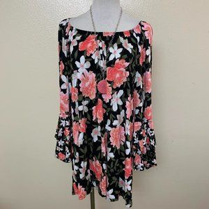3/$30 INC Floral Tiered Peasant Top Bell Sleeve